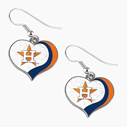 Houston Astros MLB Sports Team Logo Glitter Heart Earring Swirl Charm Set