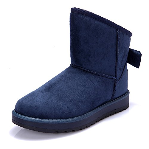 Snow Boots Women's Fully Fur Lined Keep Warm Winter Boots Bowknot Decorate Classic Ankle Boots Blue lIYFgMlo