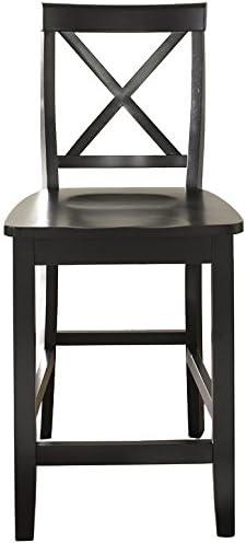 Crosley Furniture X-Back Bar Stool Set of 2 , 24-inch, Black