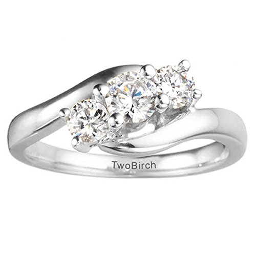 Sterling Silver Three Stone Promise Ring with Charles Colvard Created Moissanite (0.35 ct. tw.)