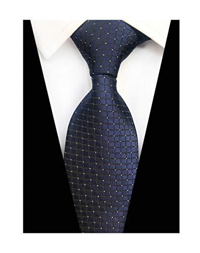 Check Necktie - Elfeves Men Modern Tartan Formal Ties Checks Plaid Gingham Pattern Woven Necktie (One Size, Navy micro check)