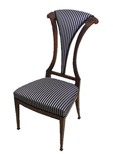 Jugendstil Hochlehner Sessel / Musikstuhl, Design Entwurf, nußbaumfarbig, Rückenbrett in Fächer-Form