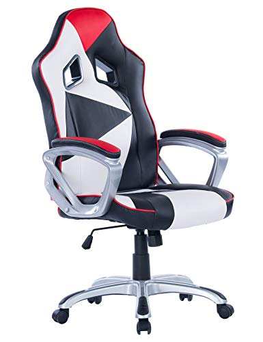 Killbee Large Gaming Chair Swivel Executive Office Chair Adjustable High-Back Desk Chair Leather Bucket