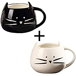 2 Pack,Ilyever Funny Cute Little Cat Coffee Tea Milk Ceramic Gift Mug Cup,white+black