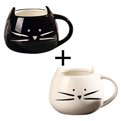 2 Pack,Ilyever Funny Cute Little Cat Coffee Tea Milk Ceramic Gift Mug Cup,white+black