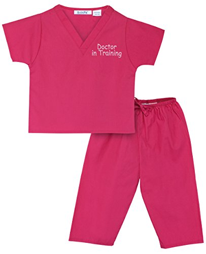 Scoots Kids Scrubs for Baby Girls, Doctor In Training Embroidery, Hot Pink, 6-12 months