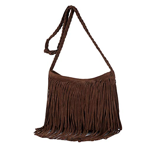 Ships From US- AiSi Womens Hippie Fringe Cowgirl Tassel Faux Suede Shoulder Messenger Cross Body Tote Handbag -