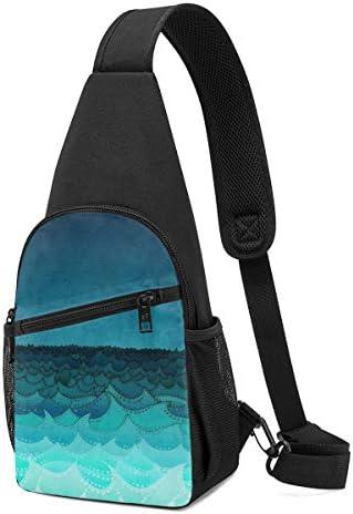 ボディ肩掛け 斜め掛け ブルー海 ショルダーバッグ ワンショルダーバッグ メンズ 軽量 大容量 多機能レジャーバックパック