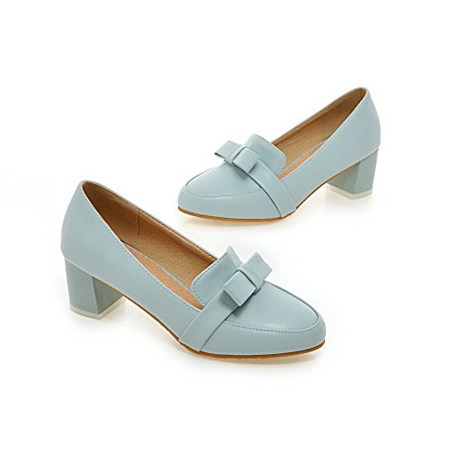Shoes Heels Pumps BalaMasa Ladies Bows Toe Blue Round Chunky Urethane wn8gpqH