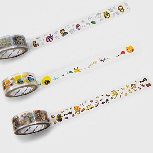 Kakao Friends Masking Tape & Clear Deco Tape 15 mm (Clear thema_3 set) by Kakao Friends