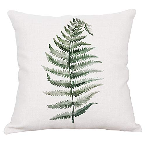 Aniyoge Green Plant Series Tropical Palm Monstera Leaves Fern Decorative Cushion Cover Throw Pillow Case for Couch Sofa Car Home Decor 18x18'' (C) ()