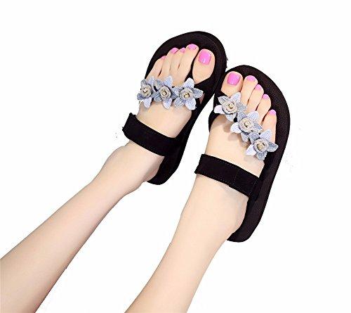 YUCH Zapatillas De Mujer Resbalar Pendiente con Clip Inferior Grueso Zapatos Diariamente Humano Blue