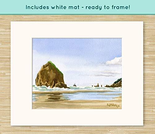 (Haystack Rock Cannon Beach art print, Oregon watercolor painting, Oregon coast artwork, coastal ocean decor, Oregon beach wall art)