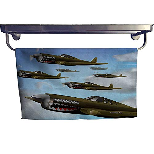homecoco Airplane Fashion Towel Combination Fighter Aircrafts Up in Air Combat Fight Battle Machinery Wings Illustration Cotton Hand Towels Set W 10