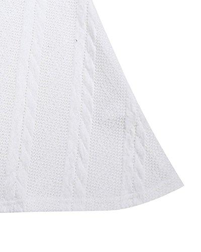 Mangas Encaje Blanco Algodón Elegante Redondo Largas Gasa Mujer ZANZEA Casual Cuello Vestido sin Lazo Corto 6wnvqOt