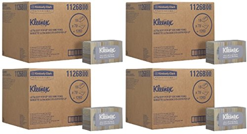 Kleenex Hand Towels (11268), Ultra Soft and Absorbent, Pop-Up Box, 5 Cases (18 Boxes), 70 Paper Hand Towels / Box, 1,260 Sheets / Case