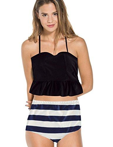 WATMAID Women's Bikini 2 Piece Padded Halter Tankini Swimwear High Waist Swimsuit Black UK 8