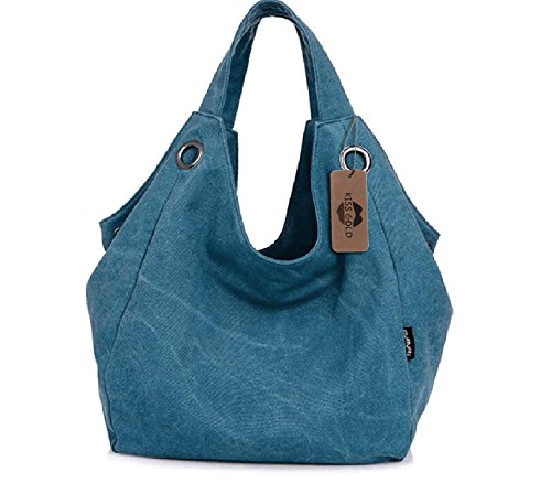 Hobo Canvas Vintage Style GOLD TM KISS Totes Blue Women's Bag Simple Xn8gYB