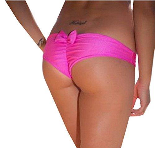 Scothen Traje de baño señoras de los trajes de baño del bikini de la colmena Bottom tanga ropa interior escritos bikini traje de baño Mini tanga ropa volante tanga Baden cadena tanga Fondo de Bikini Pink-Red