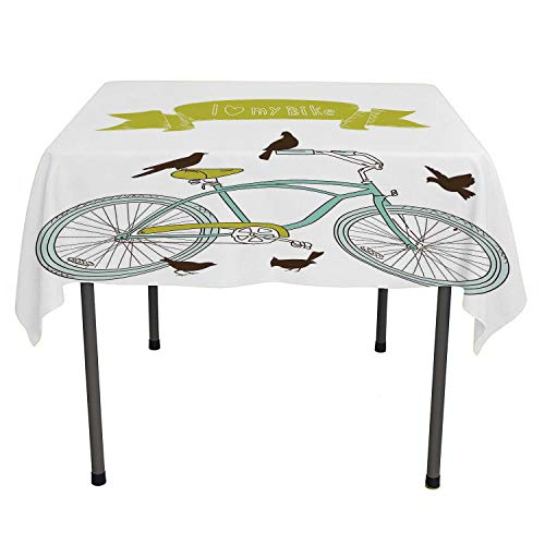(Bicycle Cloth tablecloths I Love My Bike Concept with Birds on The Seat Cruisers Basic Vehicle Simplistic Art Green Blue Washable Outdoor Table Cloth Spring/Summer/Party/Picnic 60 by 60)