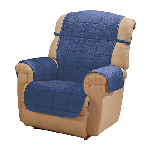 "OakRidge Parker Sherpa Recliner Cover, Navy Blue Water Resistant Polyester - 48"" x 23"" Back Cover & 30.5"" x 23"" Seat Cover & 2 Arm Covers of 21"" x 16"", Machine Washable"