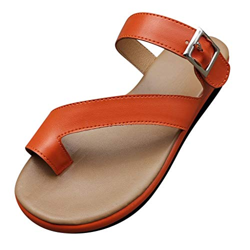 (LYN Star ◈ Women's Bohemia Flip Flops Summer Beach Buckle Strap Flat Sandals Comfort Walking Shoes Flat Sandals Red)