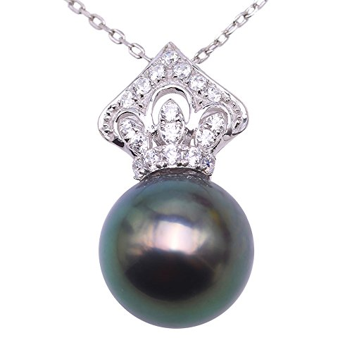 """JYX Pearl 14K White Gold Necklace Round 10.5mm Peacock-Green Tahitian Pearl Pendant Necklace for Women 18"""""""