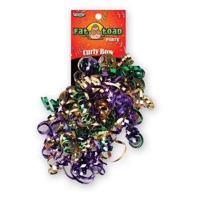 CURLED RIBBON BOW MARDI GRAS #34069, CASE OF 192 by DollarItemDirect