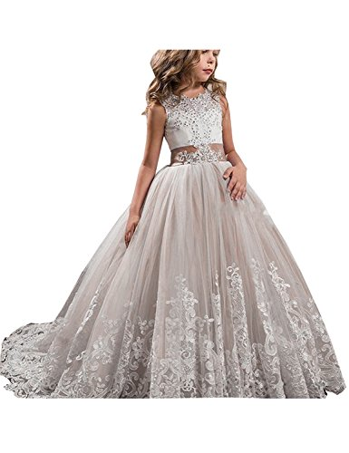 GZY Girls Toddler Pageant Dresses for Teens Lilac Flower Girls Dress -