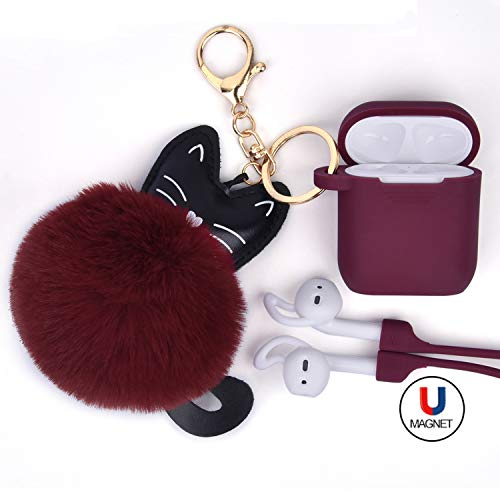 AirPods Case Protective Silicone Cover Skin AIRSPO Anti-Lost Airpods Keychain/Magnetic Strap/Earhook Compatible Apple AirPods with Cute Fur Ball, Women/Girls Gift (Red Wine)