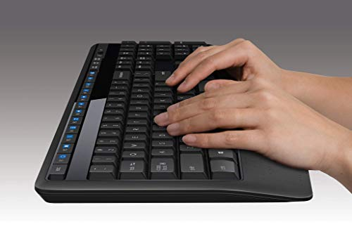Logitech MK345 Wireless Combo - Full-sized Keyboard with Palm Rest and Comfortable Right-Handed Mouse