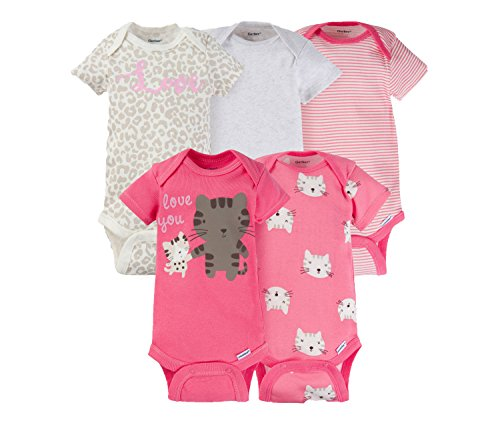Gerber Baby Girls 5 Pack Variety Bodysuits (0-3 Months, Love You Kitty)