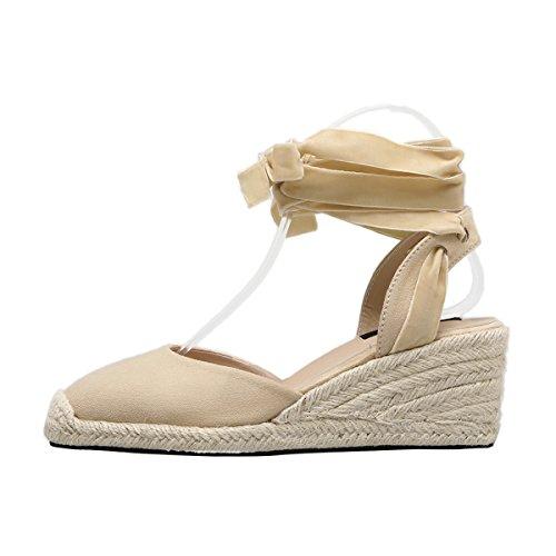 Sandali Con Zeppa Con Espadrillas Sandali Con Cinturino Alla Caviglia Da Donna Beige