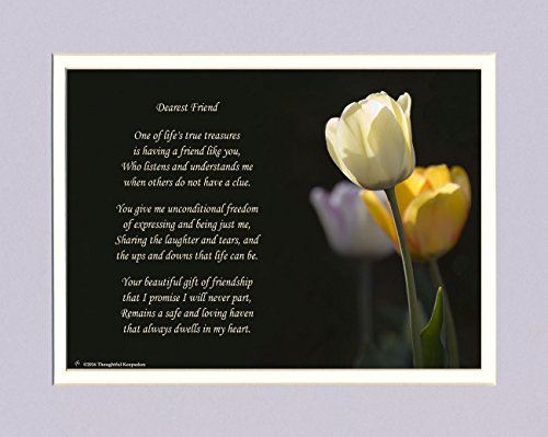 Friend Gifts. Tulip Photo with Gift of Friendship Poem, 8x10 Double Matted. Special Birthday or for Friend. Great Unique Best for Friendship Day.