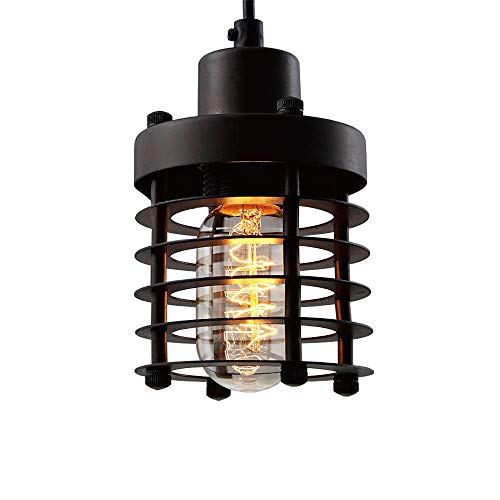Cheap BAYCHEER HL371142 Industrial Retro Vintage style Iron Mini PLight Lamp Hanging Light with Outer Cage in Black use E26 Bulb 1 light