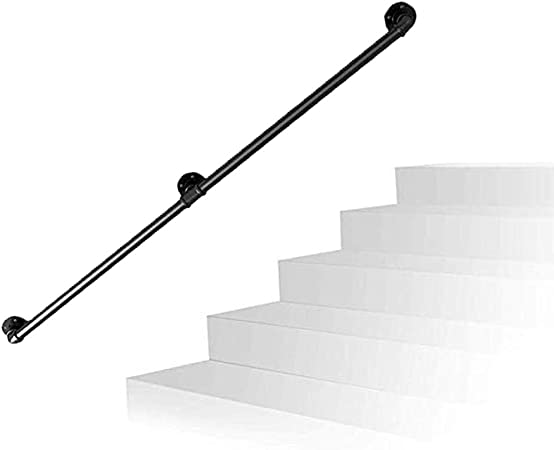 Pasamanos Escalera Diseño de tubería Barandilla de Escalera de Hierro galvanizado Retro - 25cm-300cm Seleccione Longitud - Interior y Exterior - Negro: Amazon.es: Hogar