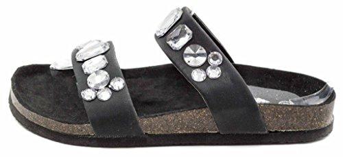 Sandalo Da Donna Piatto Charles Albert Con Strass Ingioiellato Nero