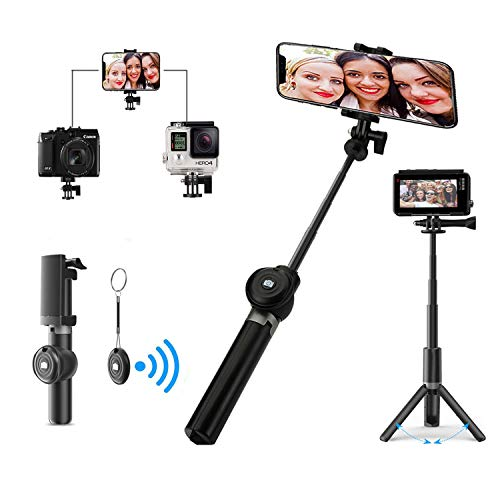 Awezon Selfie Stick 3 in 1 Black Foldable Tripod Extendable Monopod with Wireless Bluetooth Remote for iPhone x/8/7/6s/Plus iOS Samsung Galaxy s9/s8/s7/s6 Note Android Gopro Cameras
