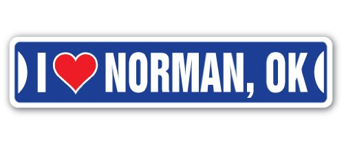 I LOVE NORMAN, OKLAHOMA Street Sign ok city state us wall road décor ()