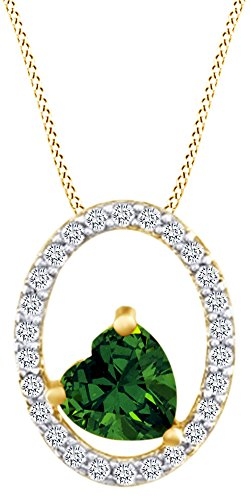 AFFY Valentine's Day 1/10 Cttw White Diamonds With Heart Shape Simulated Emerald CZ 10K Solid Yellow Gold Pendant Necklace ()