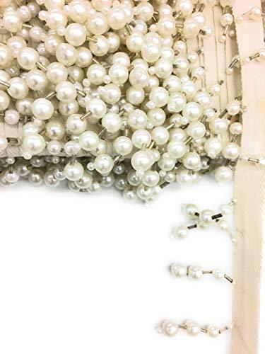 1-1/2 inch Long White Pearl Silver Bugle Beaded Fringe Trim 3-Yards- Beaed Fringe