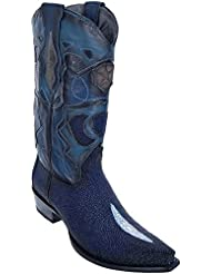 Mens Sinp Toe Single Stone Faded Navy Blue Genuine Leather Stingray Skin Western Boots