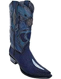 Men's Sinp Toe Single Stone Faded Navy Blue Genuine Leather Stingray Skin Western Boots