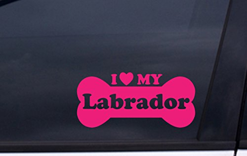 """I Love MY LABRADOR vinyl decal 3.5""""x7"""" PINK Free Shipping for sale  Delivered anywhere in USA"""