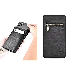 HITFIT Multi Function Zipper Lock Leather Holster Pouch Belt Clip Case Mobile Phone, Card, Passport, Powerbank Holder…