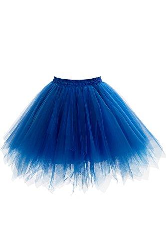 Babyonlinedress Womens Mini Tutu Skirt with Multi-layer Frilly Petticoat (Royal Blue,L/XL)