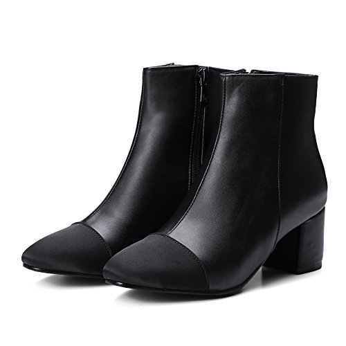 AN A&N Womens Boots Closed-Toe Zip Low-Heel Warm Lining Waterproof Soft Ground Soft Ground Closed-Toe Urethane Boots DKU01955 Black VmTG6