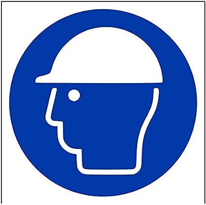 vsafety 41030/am-rLogo casque de s/écurit/é obligatoire ppe Panneau en plastique rigide 150/mm x 150/mm bleu Carr/é