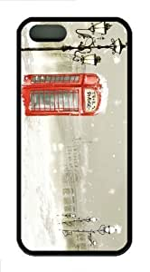 iPhone 5S Customized Unique Phone Booth Winter New Fashion TPU Black iPhone 5/5S Cases - Scenery Flowers