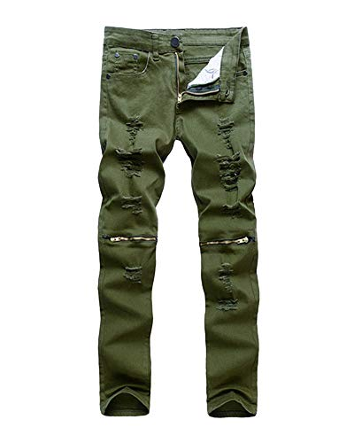 Distrutto Stretti Skinny Strappati Slim Jeans Pantaloni Uomo Denim 7 6UqZW7p